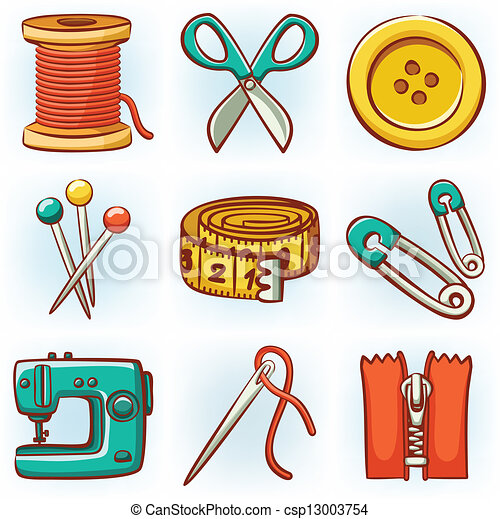 Set of 9 sewing tools icons - csp13003754
