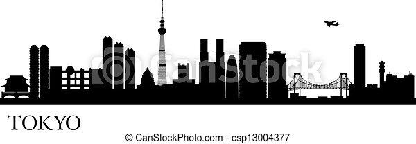Tokyo city silhouette - csp13004377