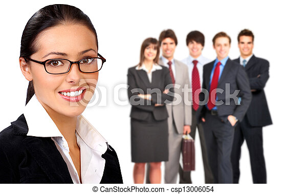 Business woman and a group of people. - csp13006054