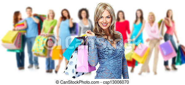 Group of shopping woman. - csp13006070