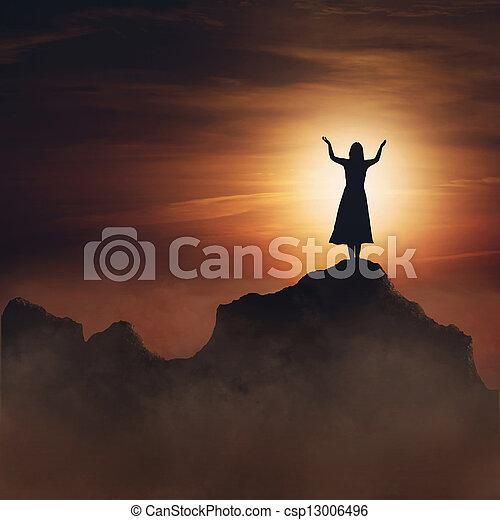 Woman on mountain. - csp13006496