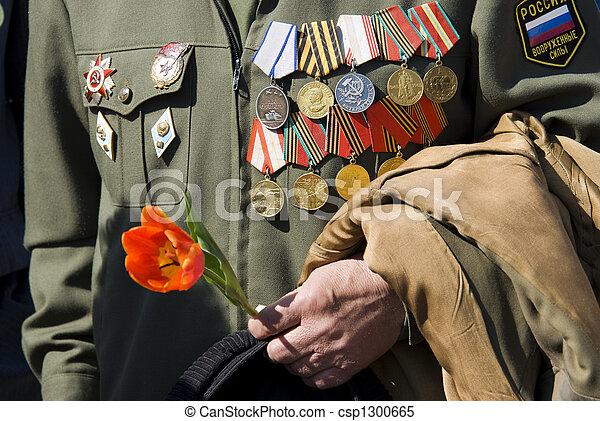 hand of war veteran with tulip - csp1300665