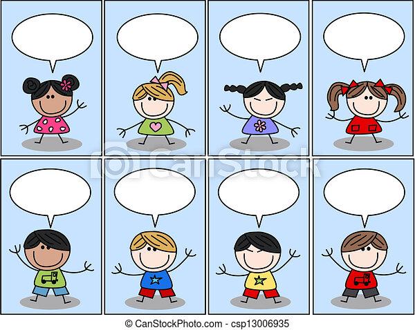 mixed ethnic happy children  - csp13006935