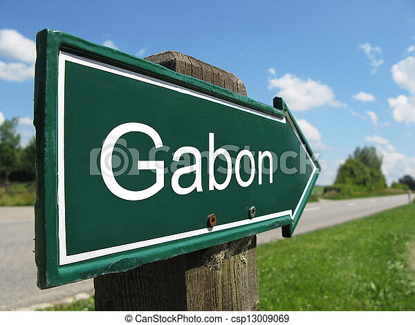 Gabon signpost along a rural road - csp13009069