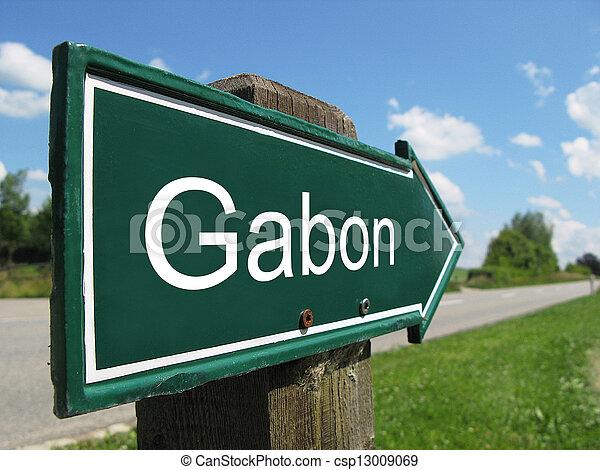 Gabon signpost along a rural road - csp13009069