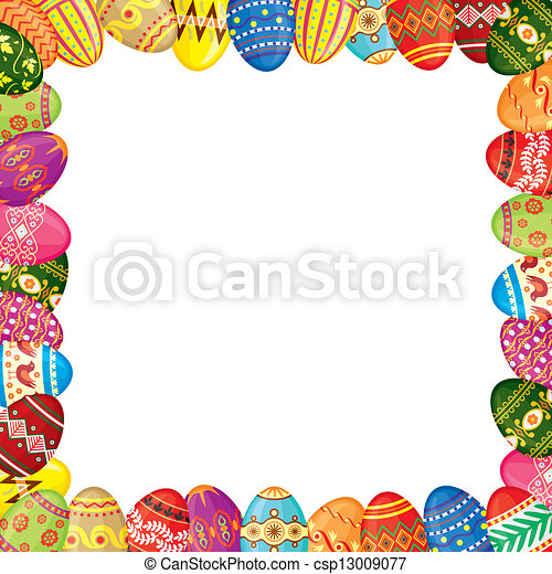 Easter eggs frame - csp13009077