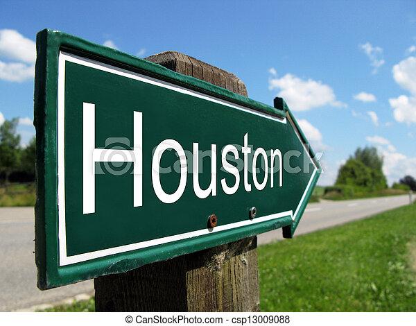 Houston signpost along a rural road - csp13009088