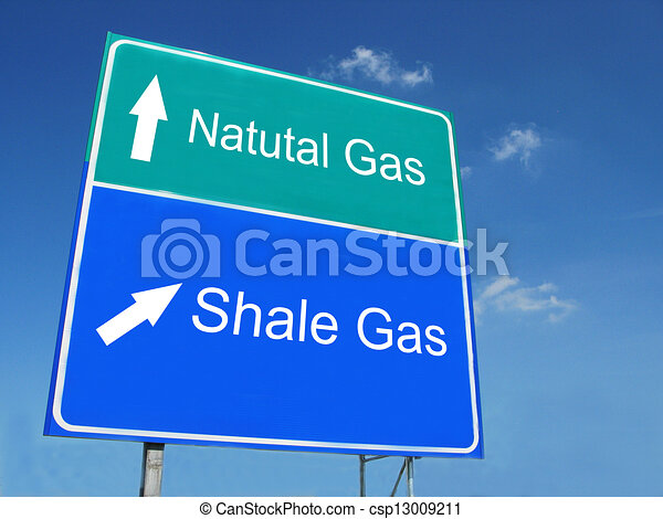 Natural Gas - Shale Gas road sign - csp13009211