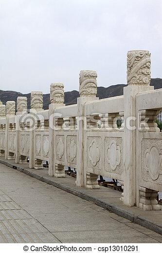 white marble Bridges baluster  - csp13010291
