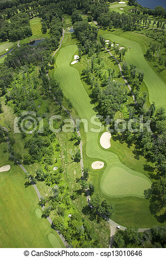 Aerial view of a golf course - csp13010646