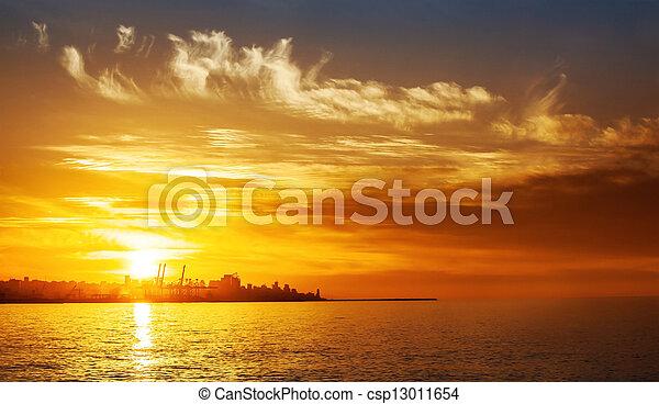 Sunset on the sea - csp13011654