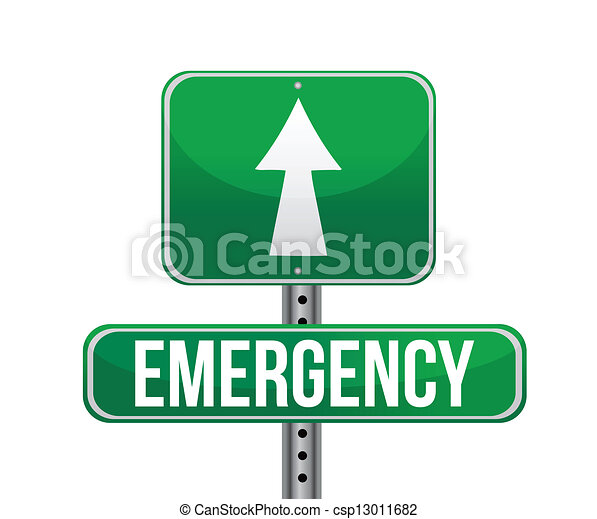 emergency road sign illustration  - csp13011682
