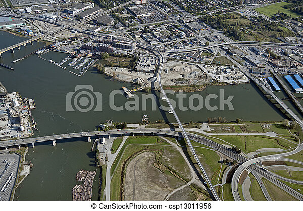Vancouver-Richmond: Bridges, highway and roads and Fraser River - csp13011956