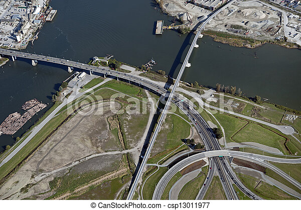 Vancouver-Richmond: Bridges, highway and roads and Fraser River - csp13011977