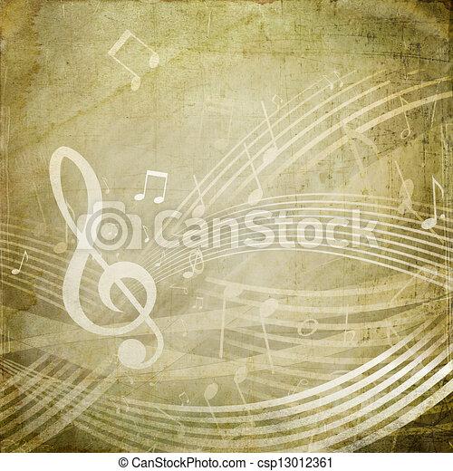 Grunge Musical Notes - csp13012361