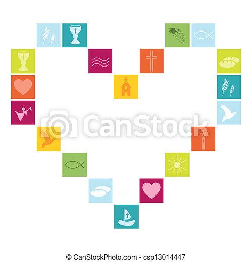 Christian religion symbols colorful - csp13014447