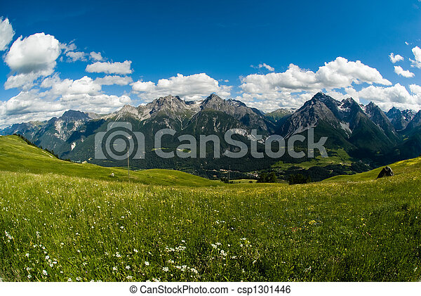 Mountain range above Scuol - csp1301446