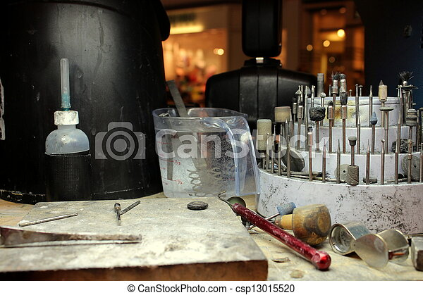 Jeweler's bench with work tools - csp13015520