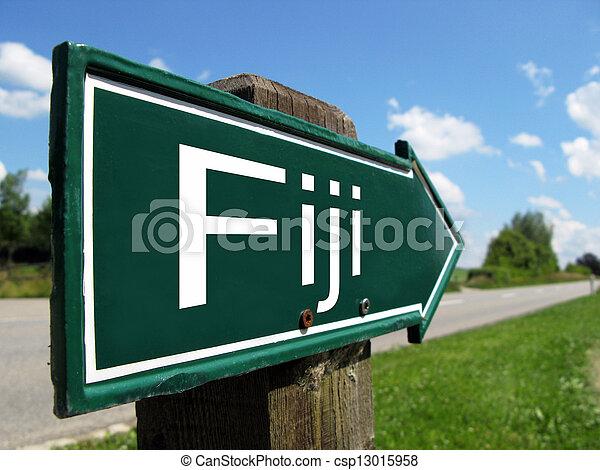 Fiji signpost along a rural road - csp13015958