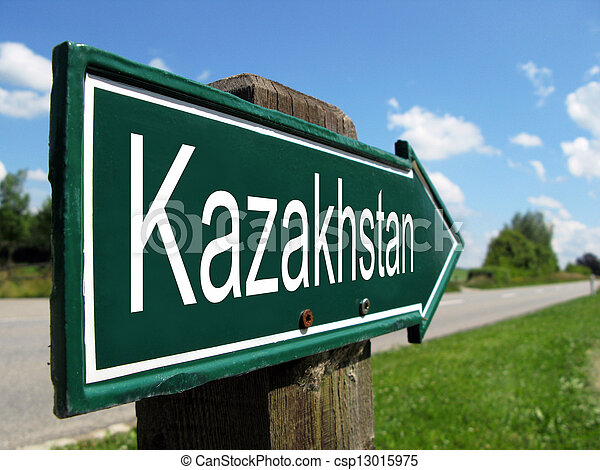 Kazakhstan signpost along a rural road - csp13015975