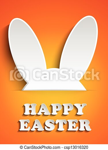 Happy Easter Rabbit Bunny on Orange Background - csp13016320