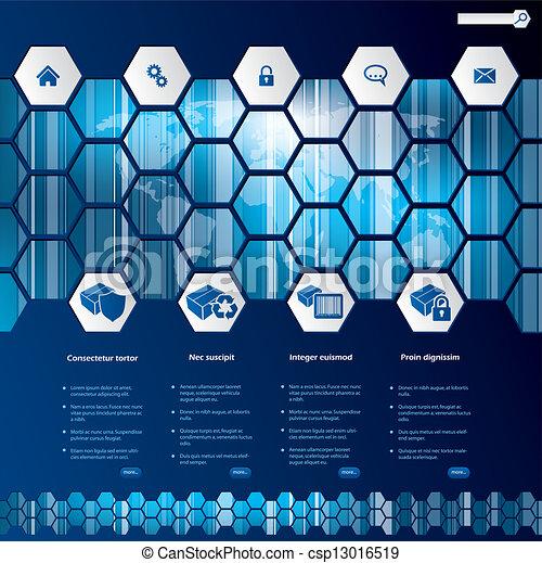 Hexagon style web template design - csp13016519