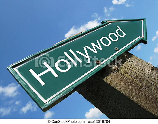 HOLLYWOOD road sign - csp13016704