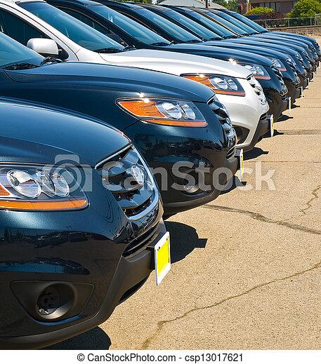 voiture, ensoleillé,  Automobiles, clair,  lot, jour, rang - csp13017621