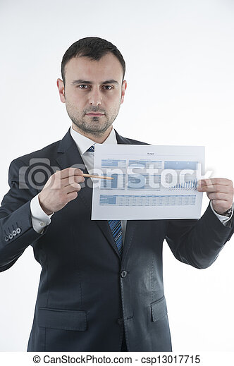 Businessman shows budget chart - csp13017715