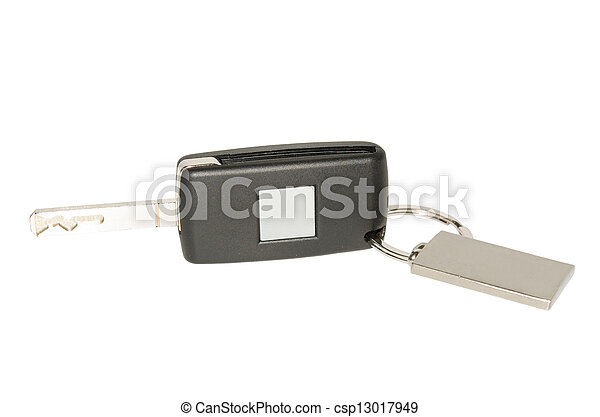 Automobile key with blank plate and keychain - csp13017949