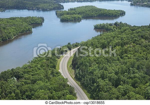 Aerial view of Mississippi River in northern Minnesota - csp13018655