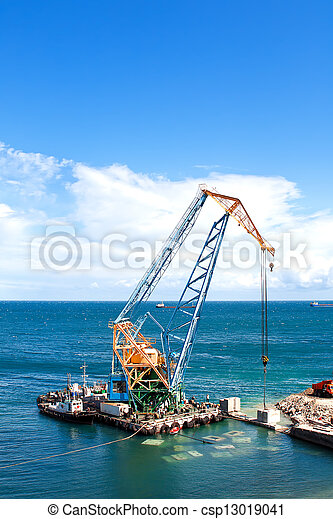 Construction work at the port dock crane