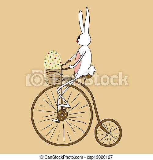 Vintage Easter bunny biking card - csp13020127
