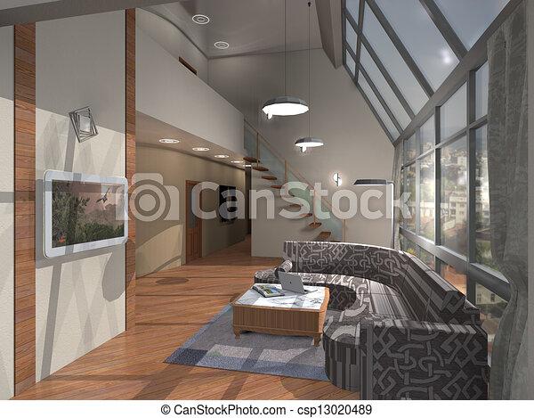 stock illustration von inneneinrichtung wohnung haus der zwei stockwerk csp13020489. Black Bedroom Furniture Sets. Home Design Ideas