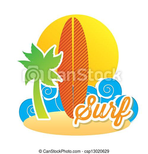 Ilustraciones de vectores de tabla de surf icono encima - Dibujos para tablas de surf ...