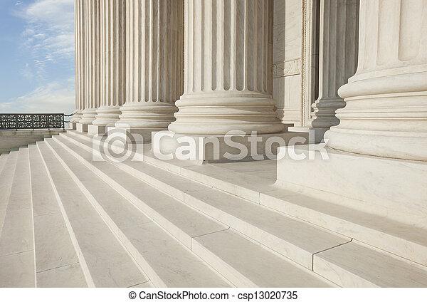 predios, supremo, corte,  Washington,  DC, pilares, passos, frente - csp13020735