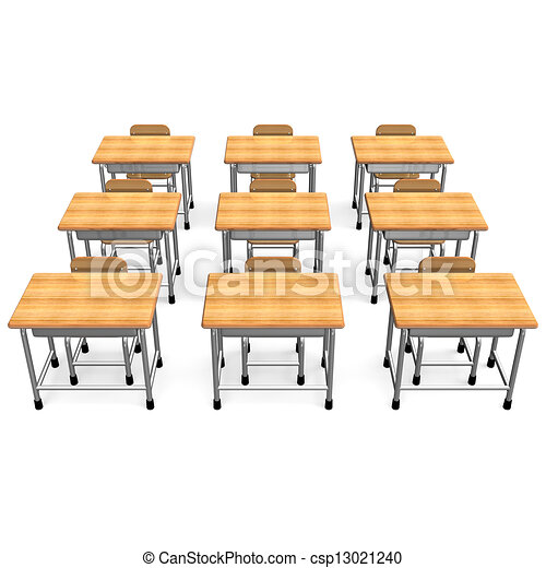 Drawing of Some School Desk Front View 3D render