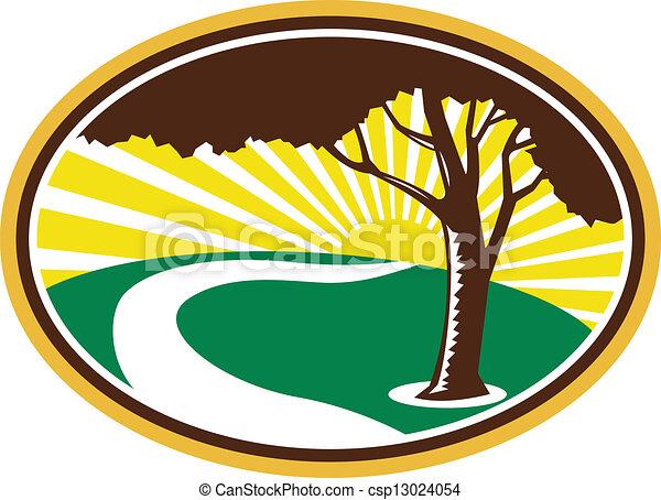 Pecan Tree Winding River Sunrise Retro - csp13024054
