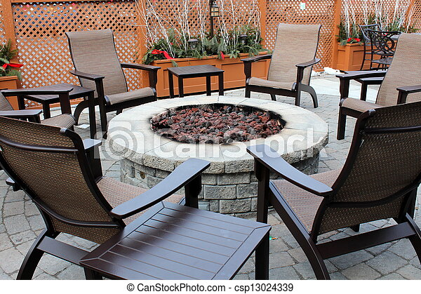 Stock Photos of Fire pit and outdoor furniture - Stone fire pit ...