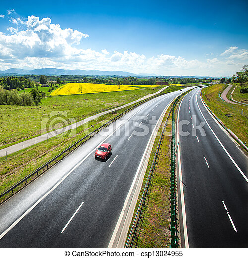 Two line, wide road with curve - csp13024955