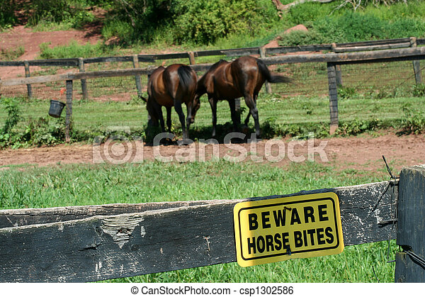 A Yellow Beware horse bites sign - csp1302586