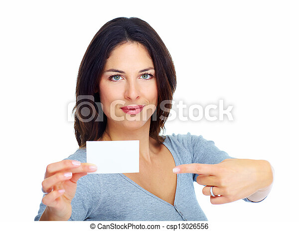 Woman with a card. - csp13026556