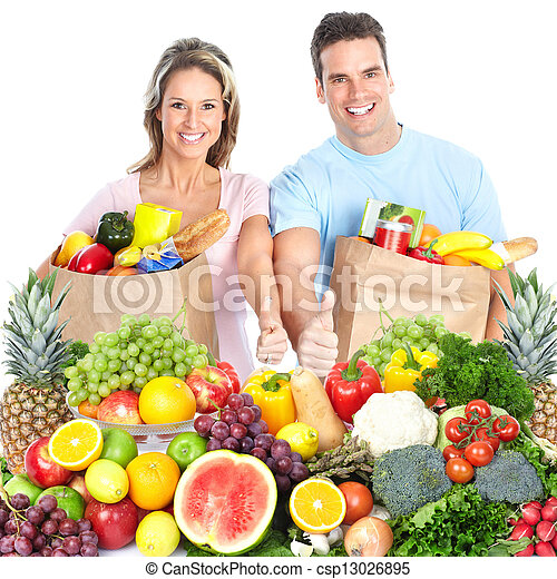 Happy couple with fruits. - csp13026895