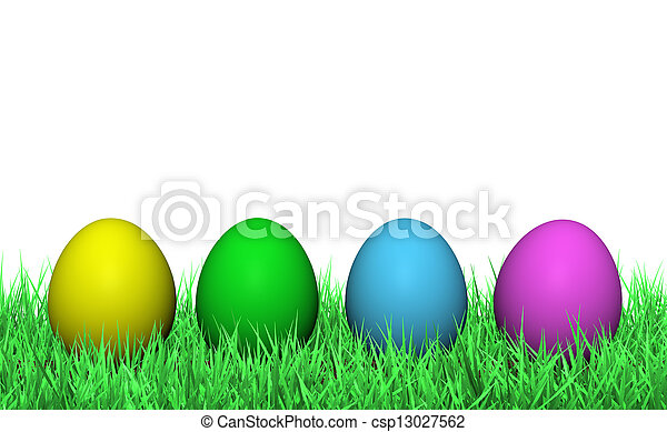 Easter Eggs On Green Grass - csp13027562