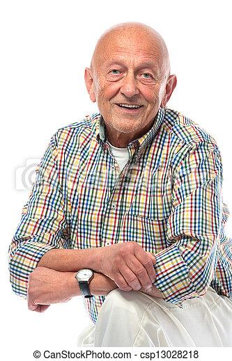Senior man smiling isolated on white - csp13028218