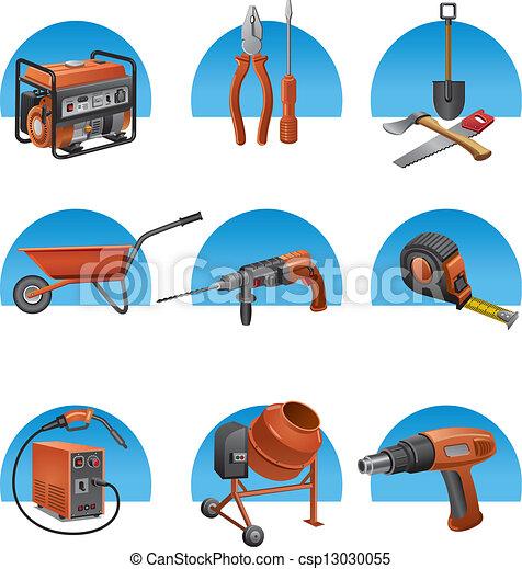 construction tools icon set - csp13030055