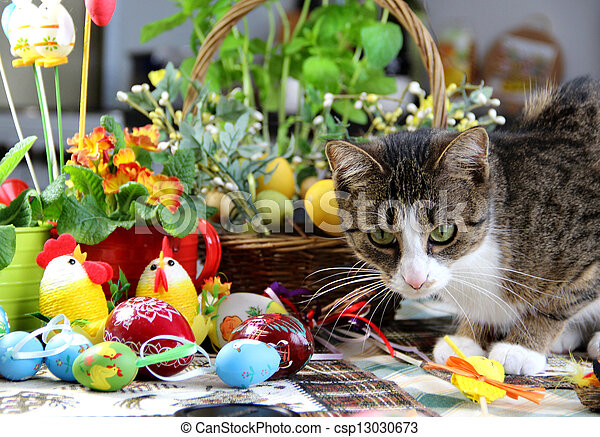 Easter rabbit and funny cat - csp13030673
