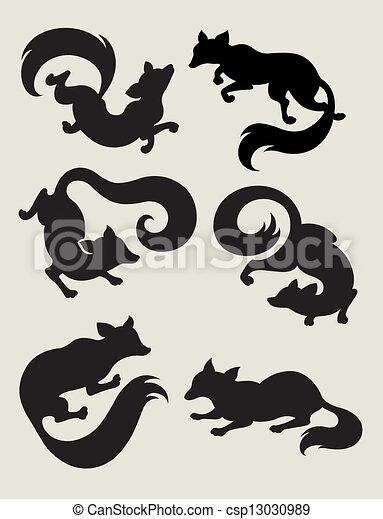 Fox Silhouette Symbols - csp13030989