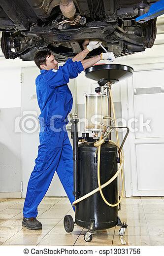 car mechanic replacing oil from motor engine - csp13031756