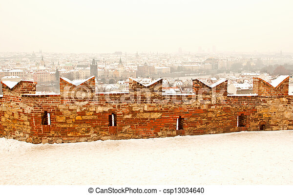 Panorama of Prague with its landmarks - csp13034640